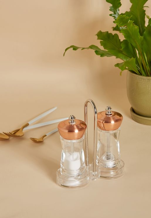 Vertex Salt and Pepper Set With Stand