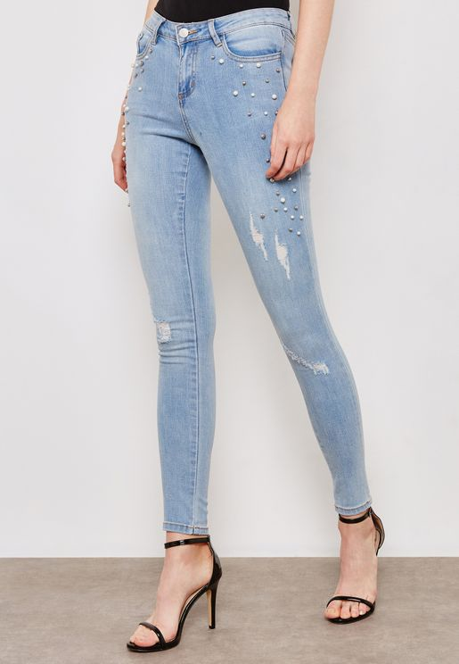 Pearl Ripped Detail Skinny Jeans