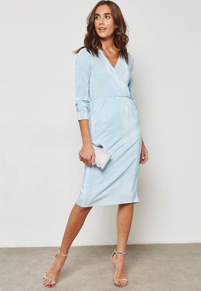 Plisse Wrap Front Dress