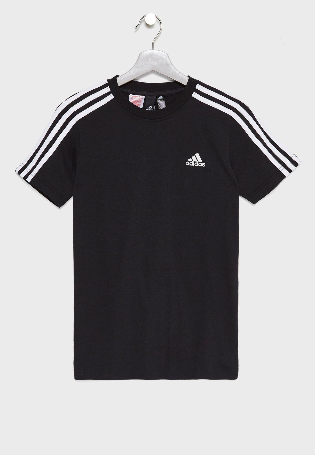 7e102505f Shop adidas black Youth 3 Stripe T-Shirt DJ1759 for Kids in UAE ...