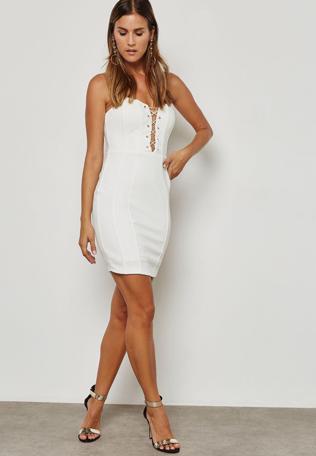 Lace Up Bandeau Dress