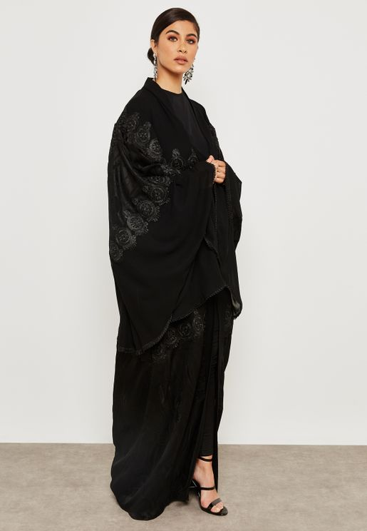 Lace Applique Detail Abaya