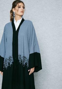 Colourblock Pearl Detail Abaya