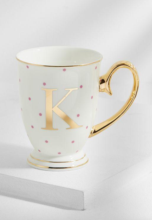 K Alphabet Spotty Mug
