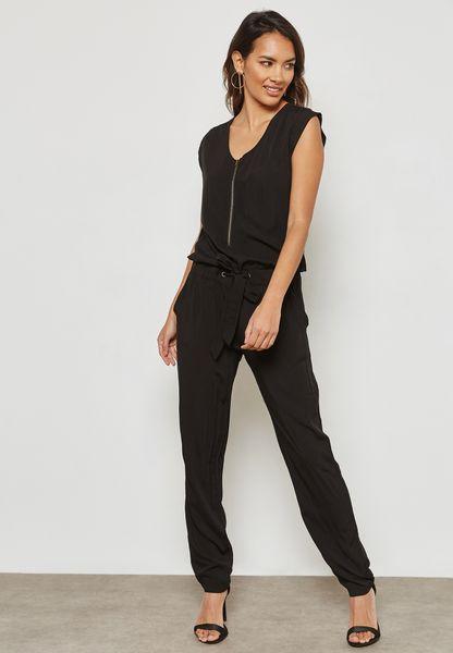 Front Zip Drawstring Jumpsuit
