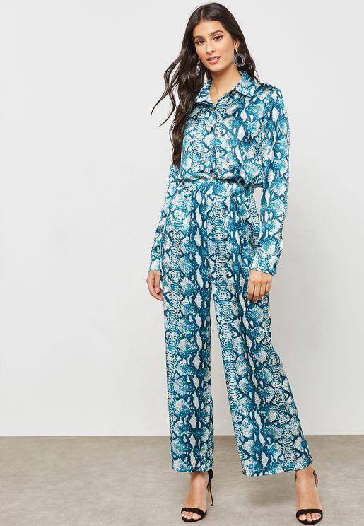 Snake Print Shirt Wide Leg Pants Set