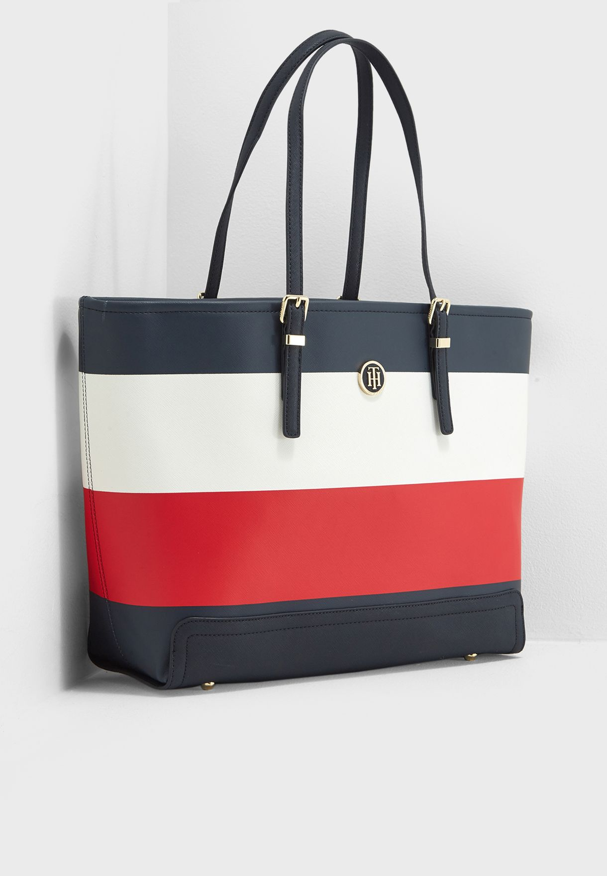 d6e011999bda60 Shop Tommy Hilfiger multicolor Honey Stripe Tote AW0AW05118 for ...