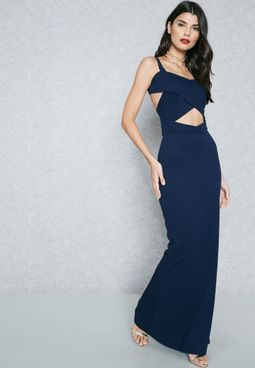 Crossover Cut-Out Maxi Dress