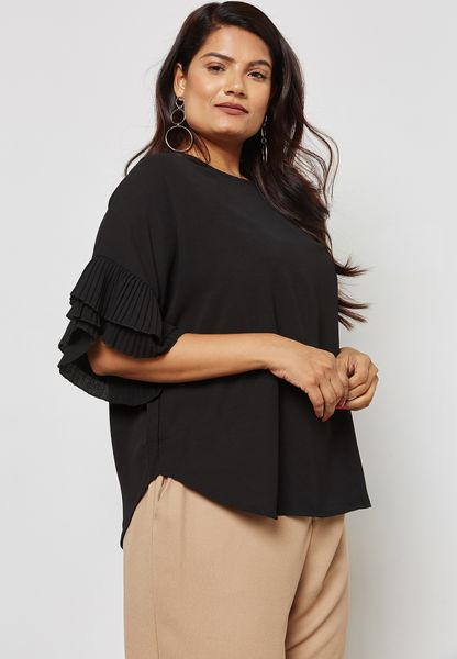 Tiered Pleated Ruffle Sleeve Top