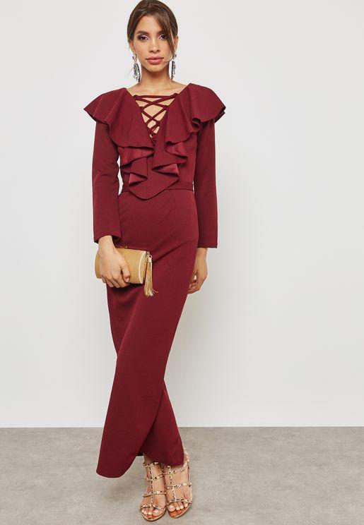 فستان مزين بكشاكش واربطة
