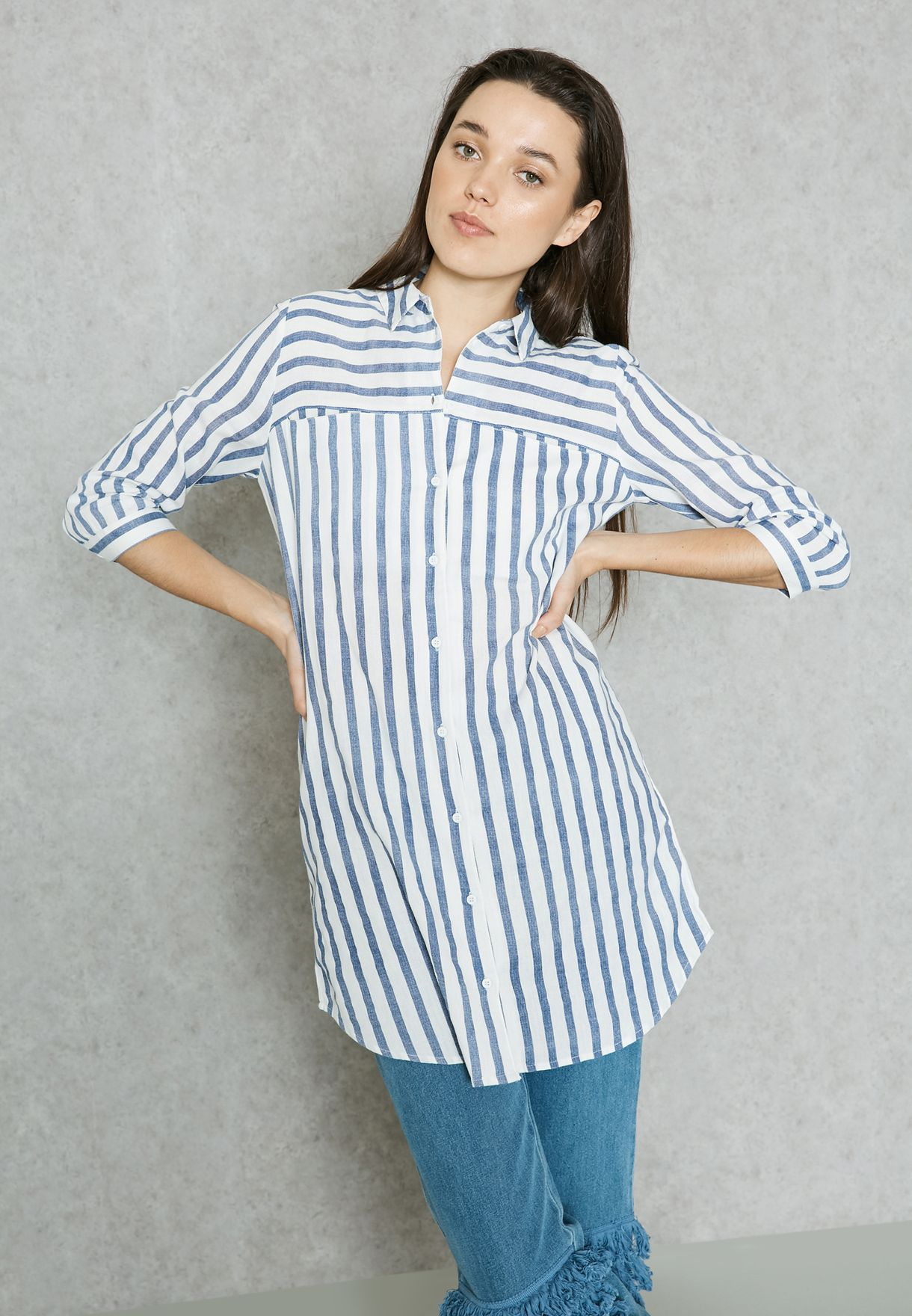 8004289ea2 Shop Vero Moda blue Striped Longline Shirt 10171489 for Women in ...