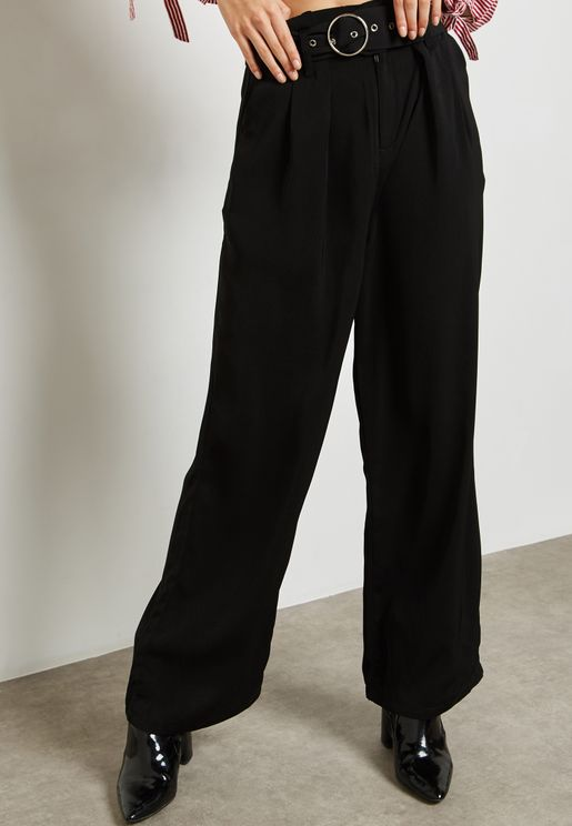 Ring Detail Wide Leg Pants