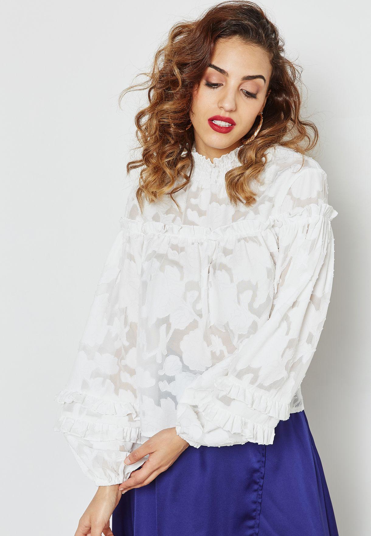 2bd482f38eaaf1 Shop Missguided white Mesh High Neck Top WXTJ416262 for Women in Bahrain -  MI669AT84ECP