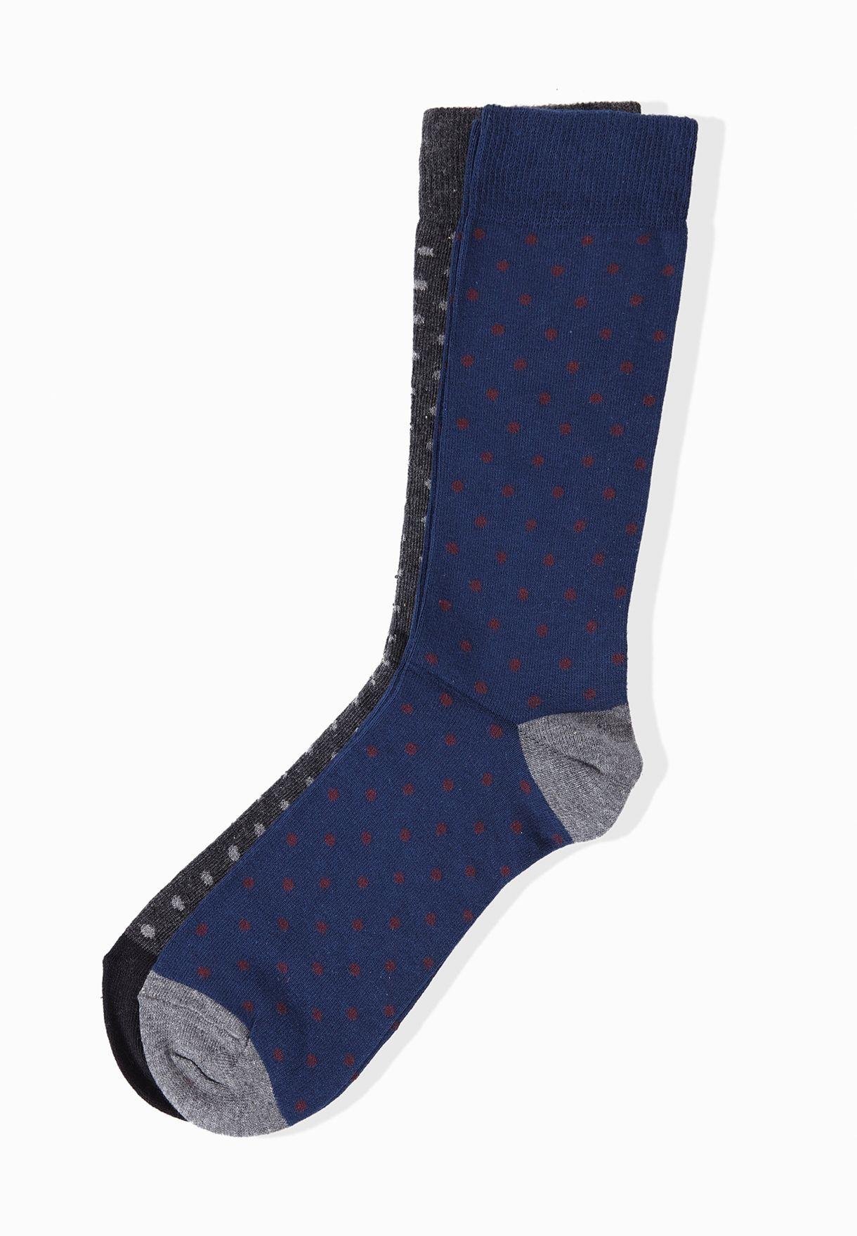 d7e03e24f1 Shop Mango Man grey 2 Pack Printed Socks 53030287 for Men in Qatar -  MA887AT84JXB