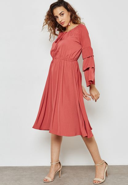 Tiered Ruffle Sleeve Tie Neck Dress