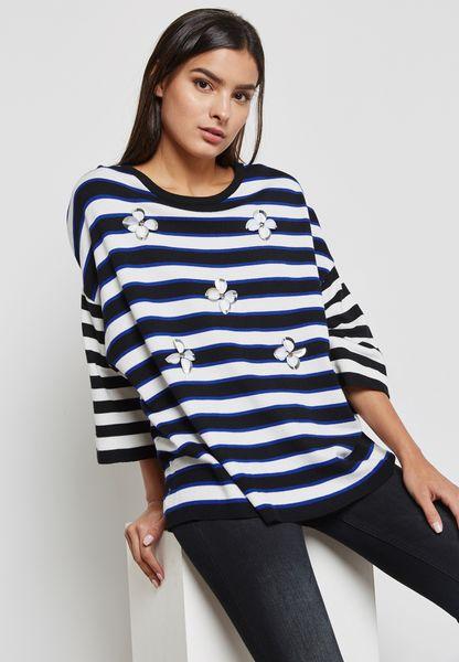 Striped Embellished Sweater