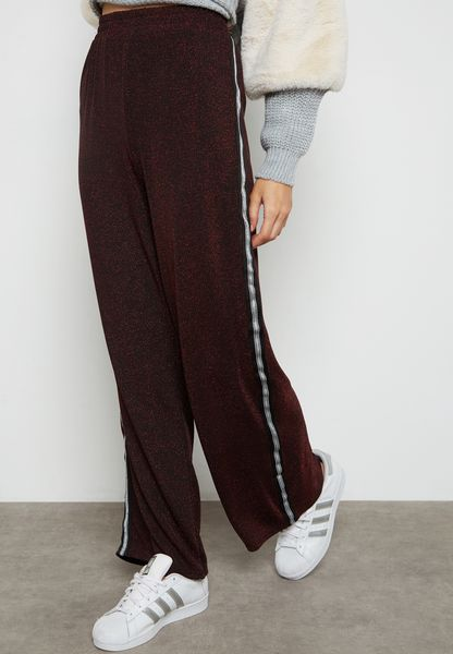 Shimmer Contrast Side Paneled Pants