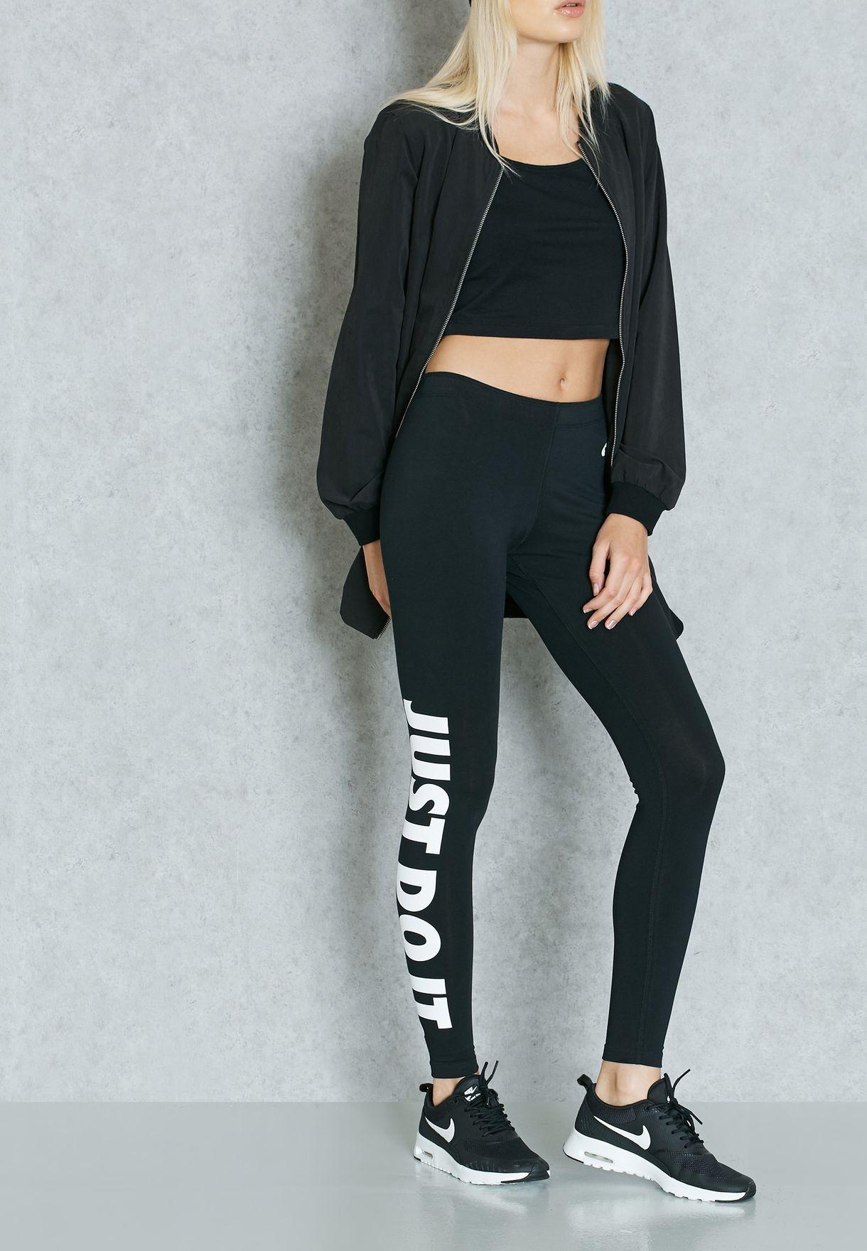 ca40a0b49fd36 Shop Nike black Leg-A-See Logo Leggings 726085-010 for Women in ...
