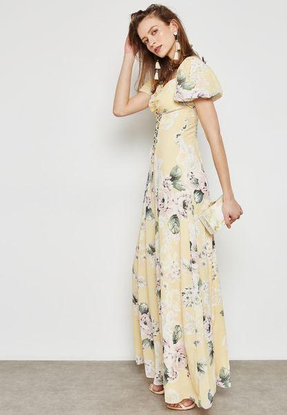 Floral Print Lace Up Dress