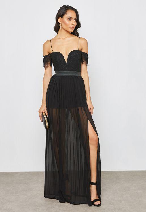 Front Split Lace Bardot Maxi Dress