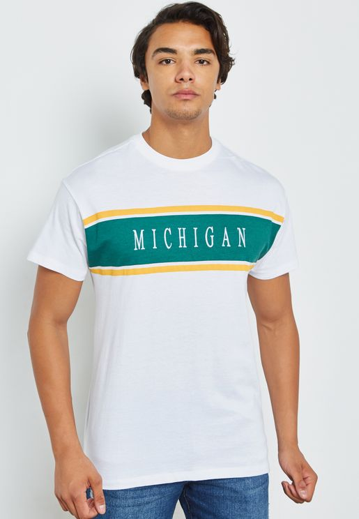 Michigan  Embroidered Crew Neck T-Shirt