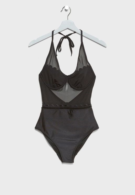 Scallop Mesh Swimsuit