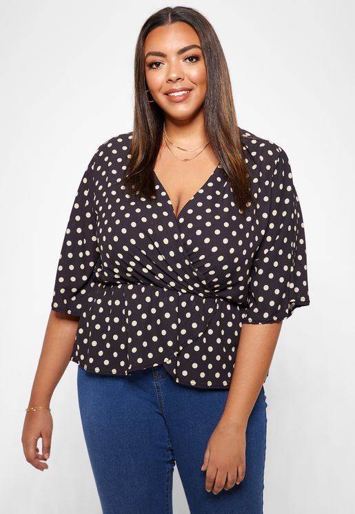 Polka Dot Wrap 3/4 Sleeve Top