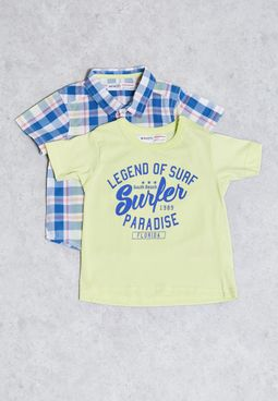مجموعة(قميص+تيشيرت) اطفال