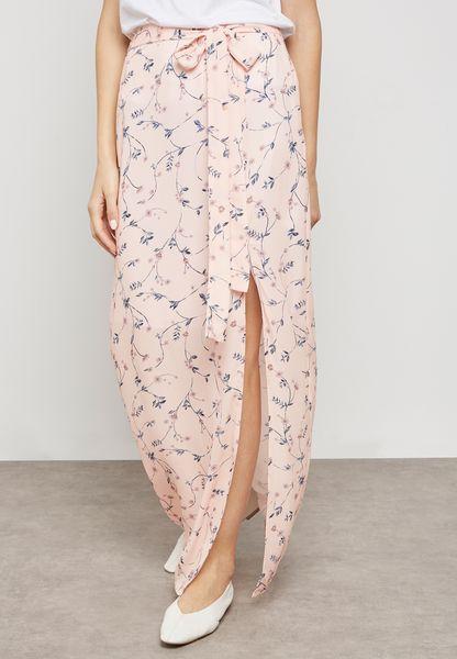 Printed Split Hem Maxi Skirt