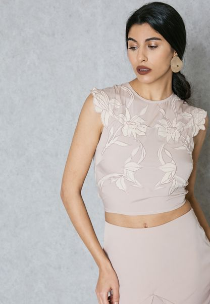 Embroidered Satin Top