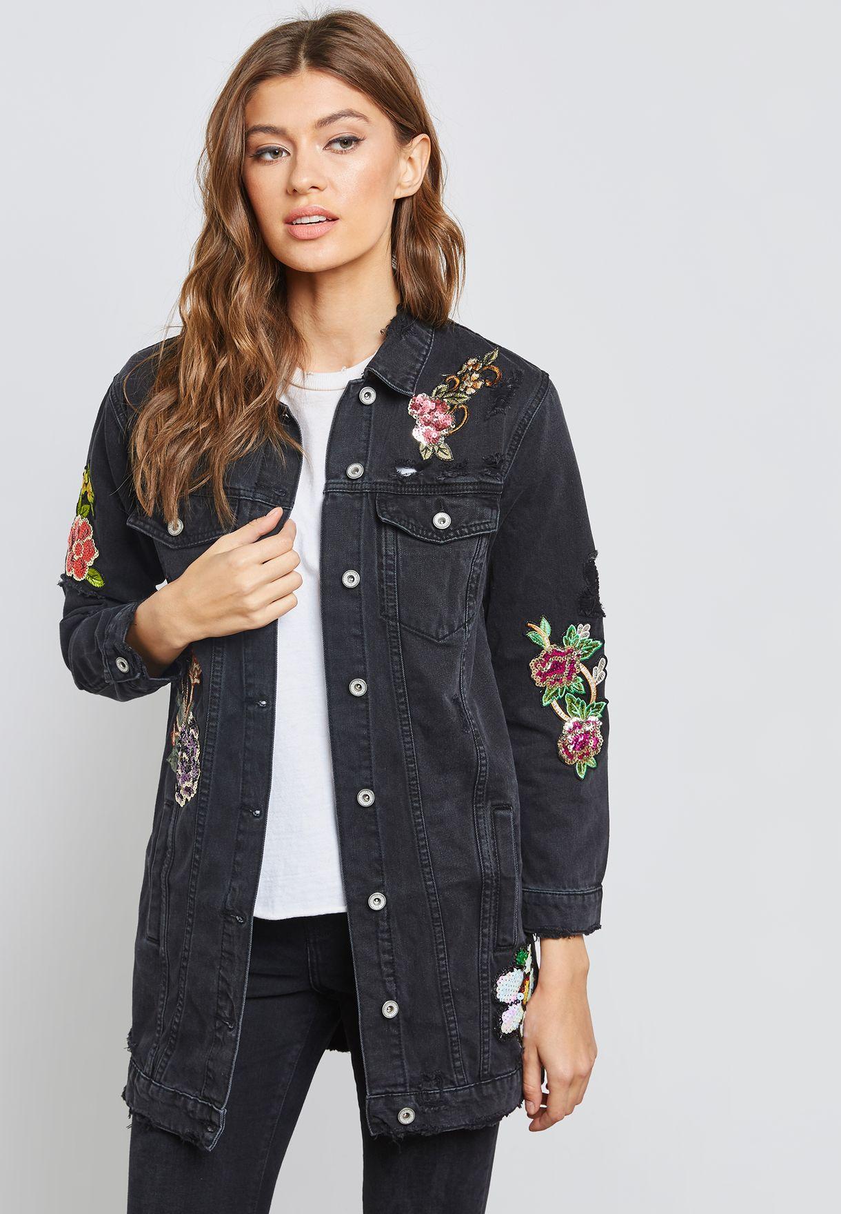 fd5c2407b تسوق جاكيت جينز طويل بأزهار مطرزة ماركة جينجر لون رمادي W3156-1 في ...