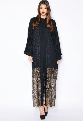 Haya's Closet Printed Lace Hem Abaya