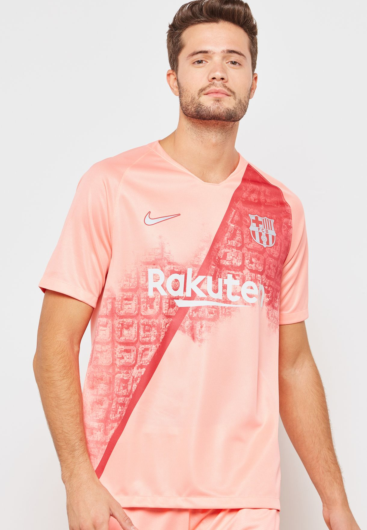 35a3770f2 Shop Nike pink FC Barcelona 18 19 3rd Jersey 918989-694 for Men in ...