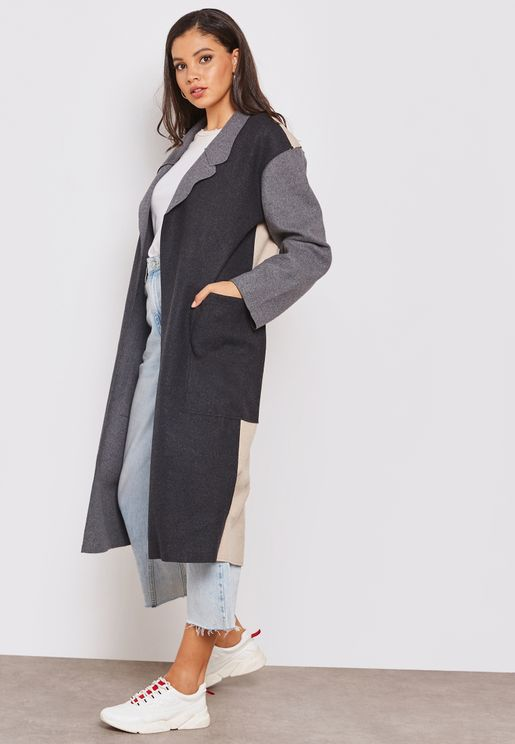 Reversible Longline Colorblock Coat with Patch Poc