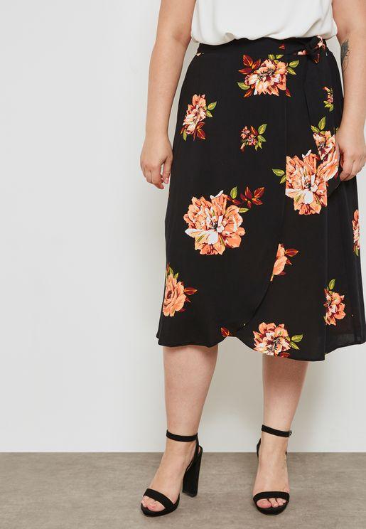 Floral Print Wrap Midi Skirt