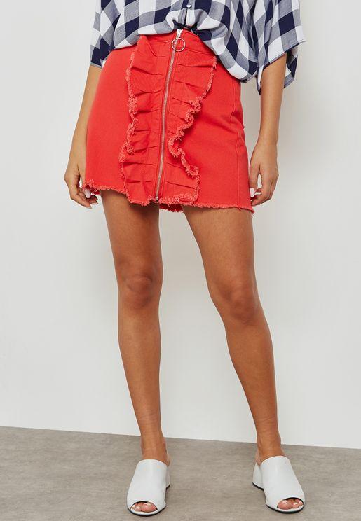 Denim Zip Through Skirt