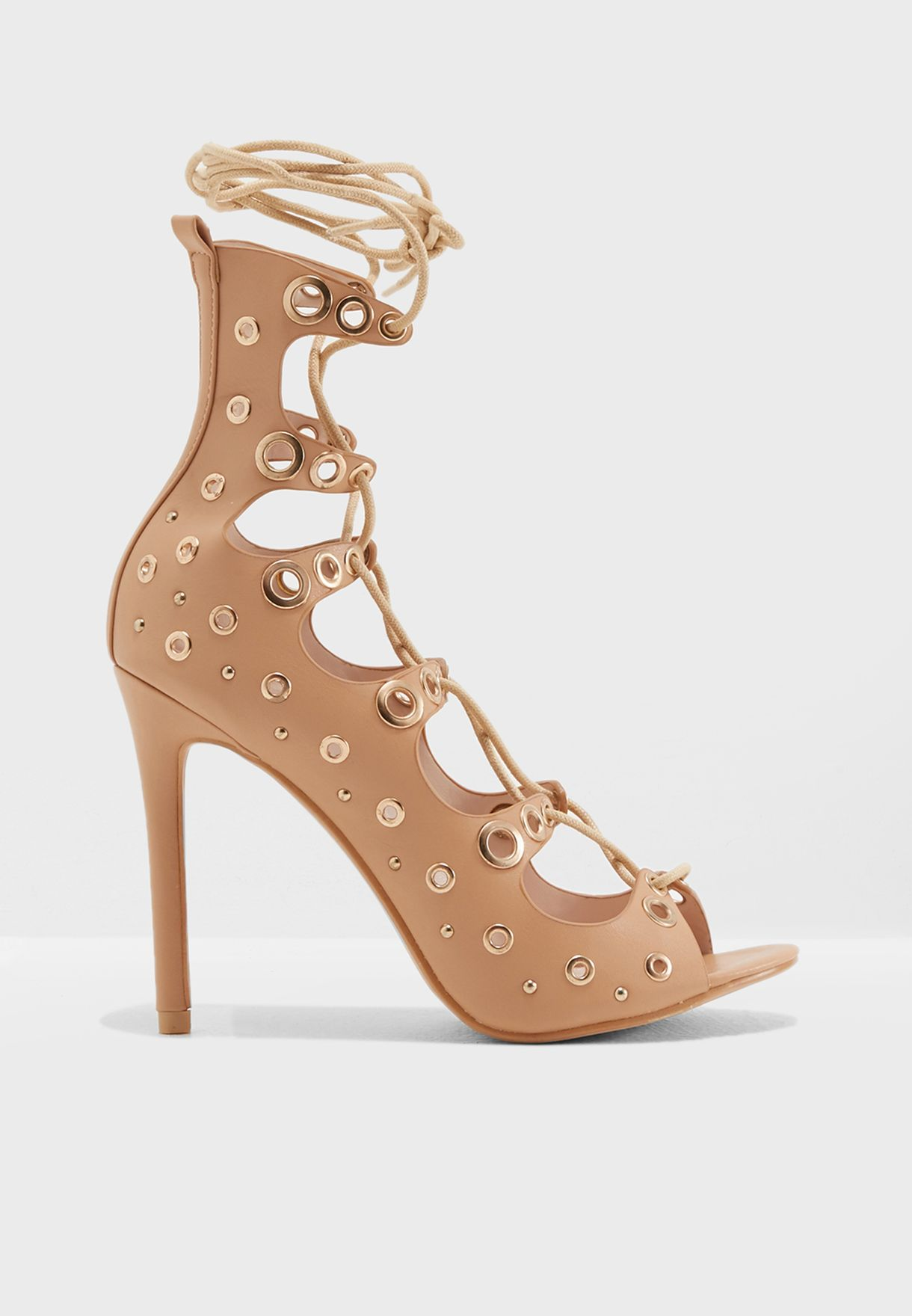 f59762248ea4 Shop Missguided neutrals Eyelet Studded Gladiator Heel F1607041 for Women  in Kuwait - MI669SH74OFL