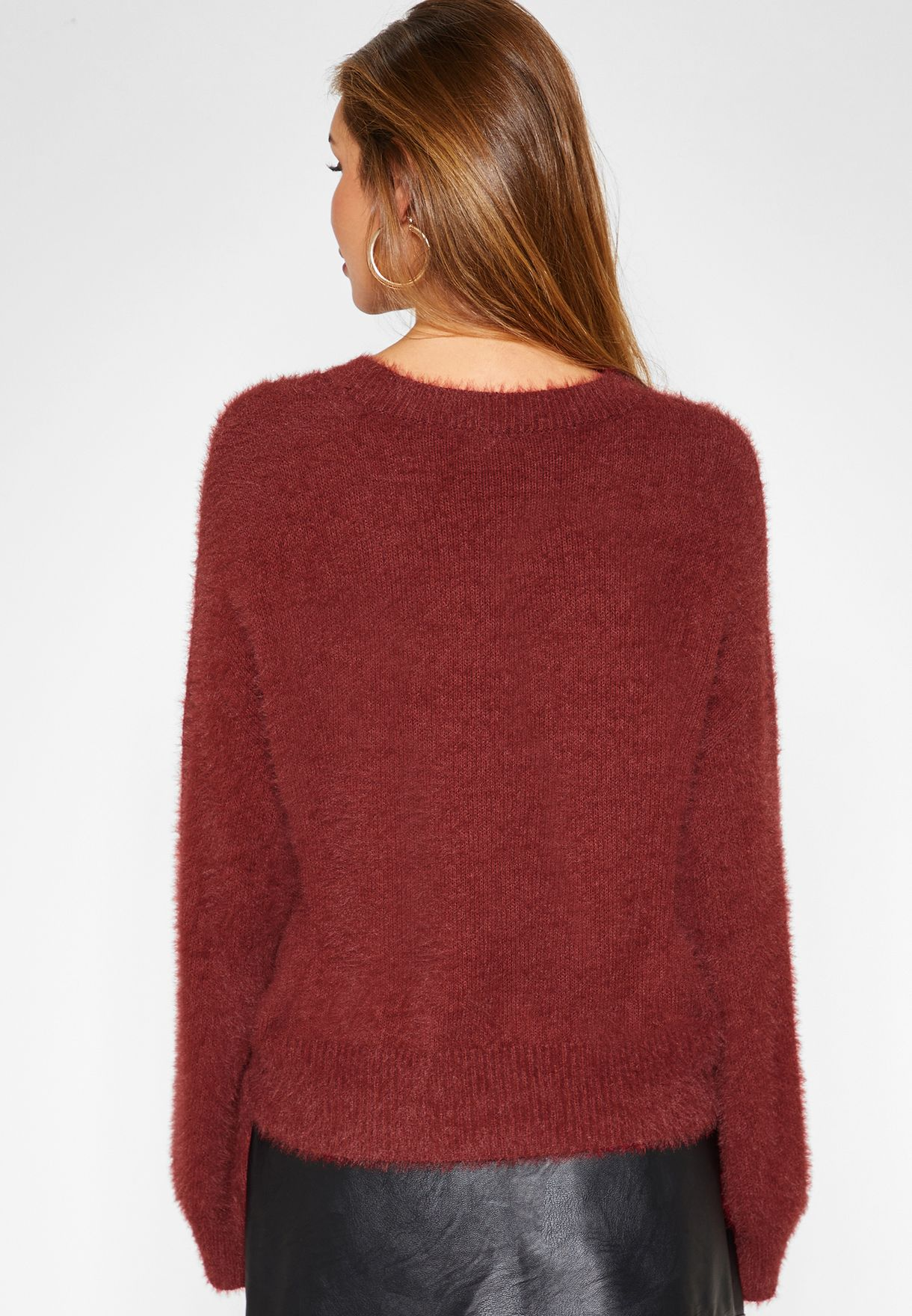 Fuzzy Crew Neck Sweater
