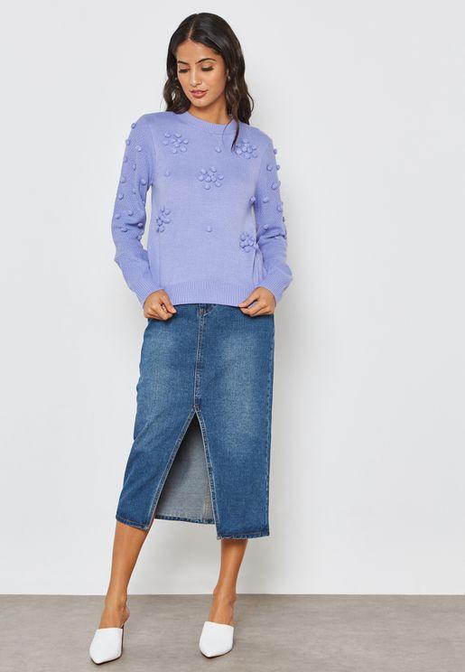 Longline Denim Midi Skirt with Front Slit