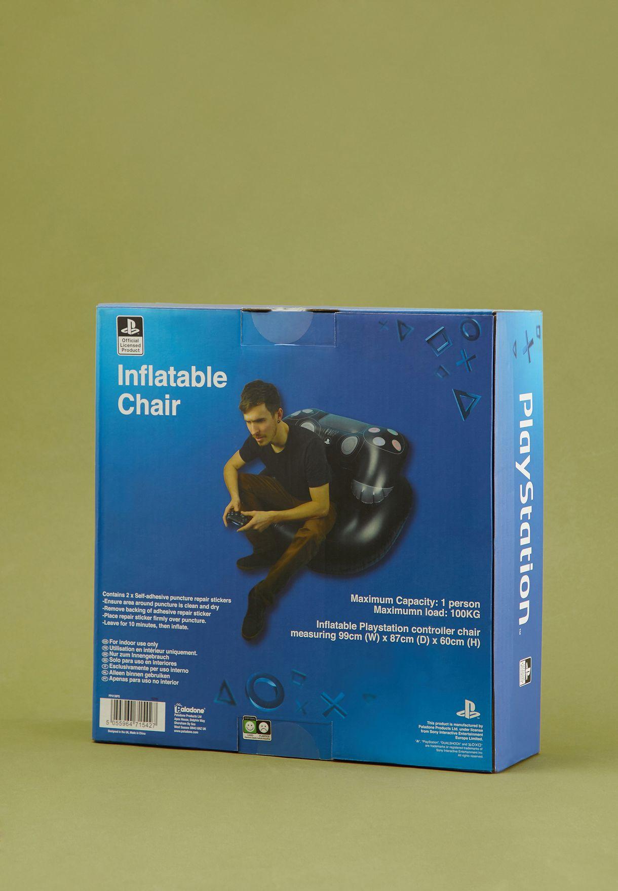 كرسي قابل للنفخ بشكل وحدة تحكم بلاي ستيشن