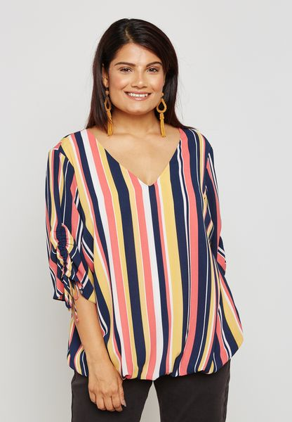 Ruched Sleeve Striped Top