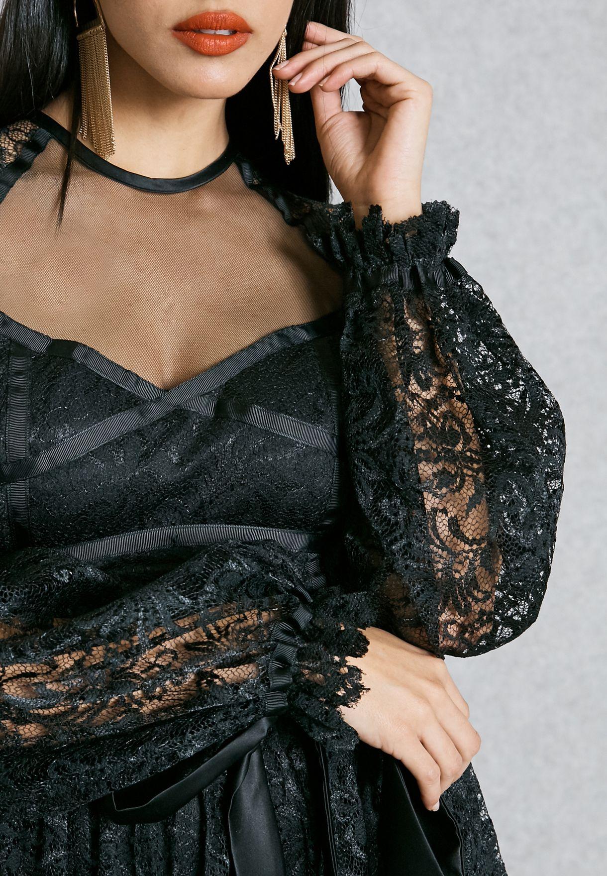 Sheer Yoke Self Tie Lace Dress