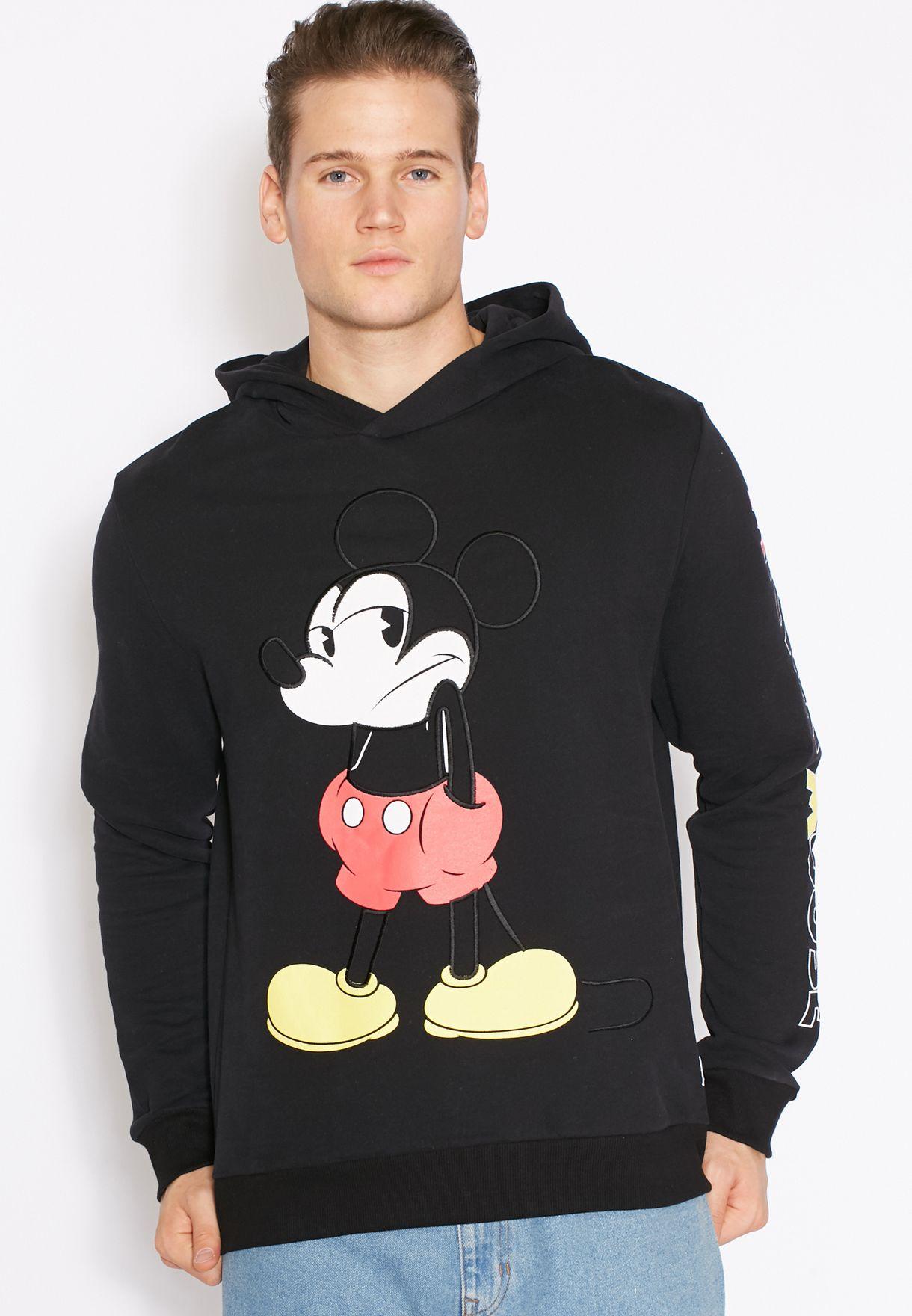 cba091c29 Shop Topman black Mickey Mouse Print Hoodie for Men in Qatar ...