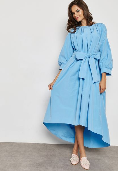 Self Tie High Low Maxi Dress
