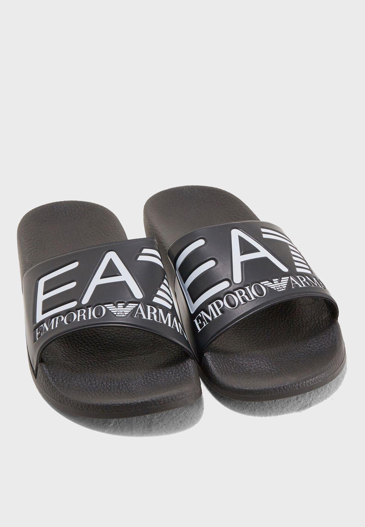 15d46a9c9ede Shop Ea7 Emporio Armani black SEA WORLD Visibility Slides 8P215 ...