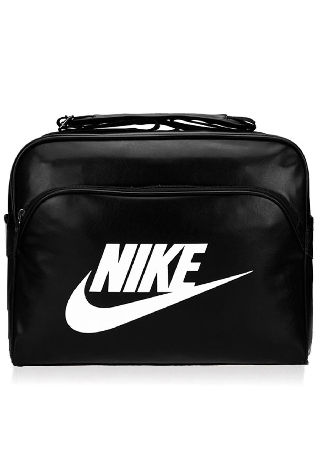 3c3a1dbeab6e Shop Nike black Heritage Track Messenger BA4271-019 for Men in ...