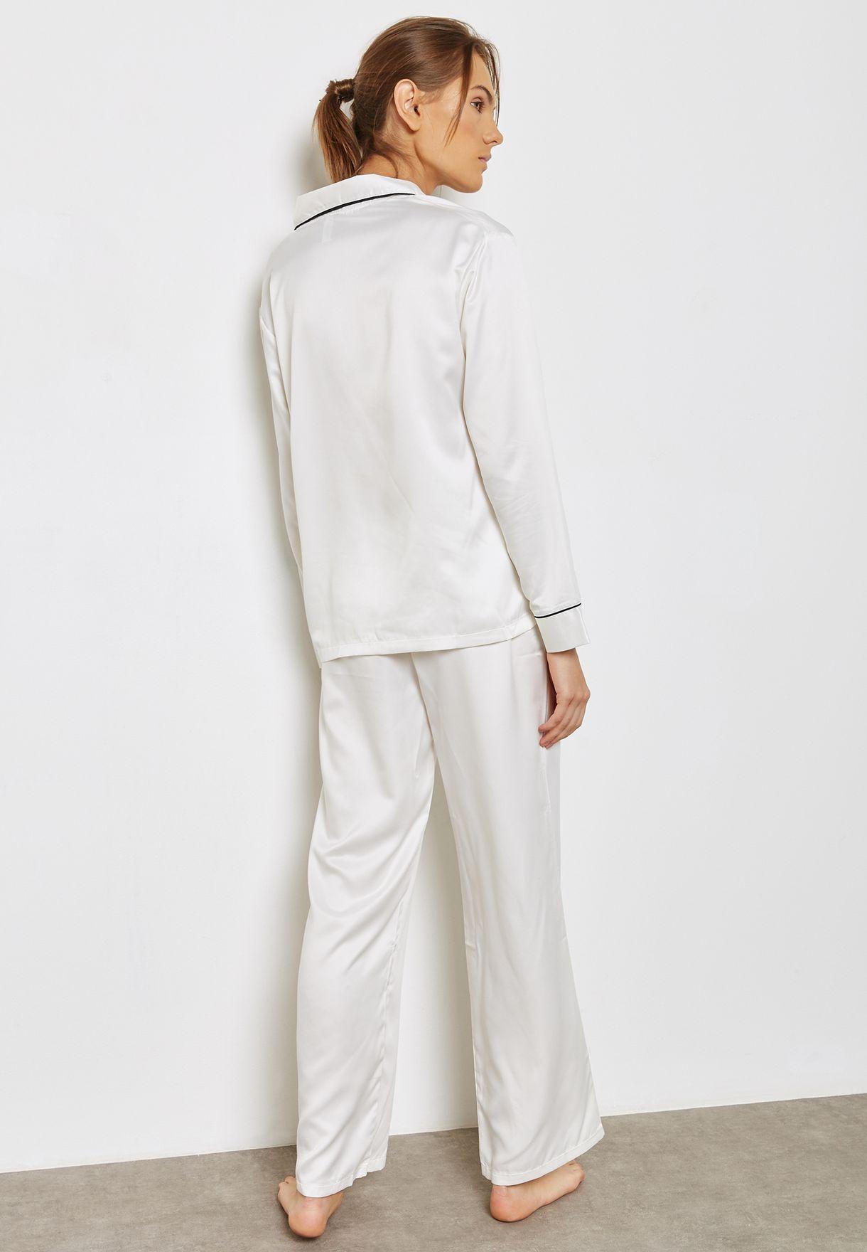 Claudia Contrast Tie Waist Pyjama Set