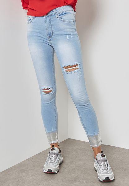 Metallic Hem Ripped Skinny Jeans