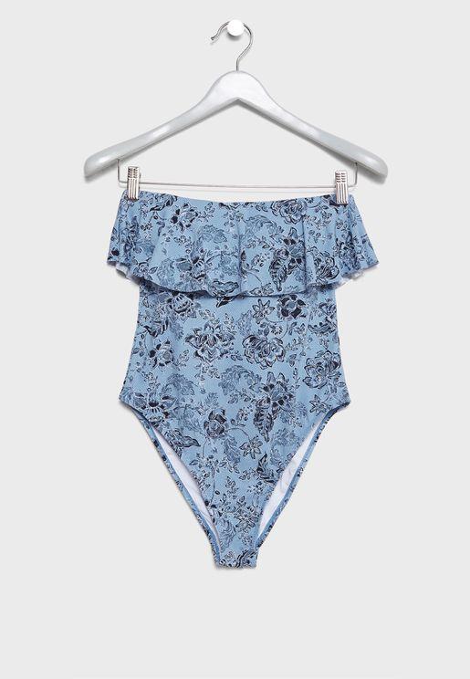 Ruffle Bardot Printed Swimsuit