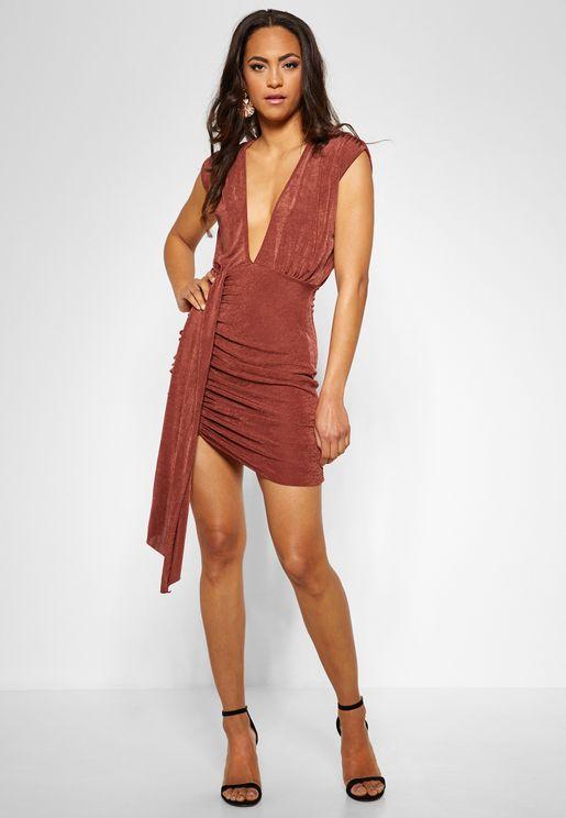 Plunge Slinky Drape Dress